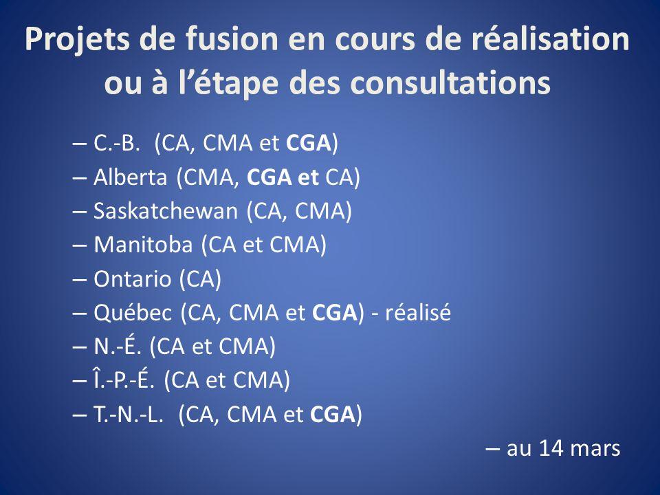 Projets de fusion en cours de réalisation ou à létape des consultations – C.-B.