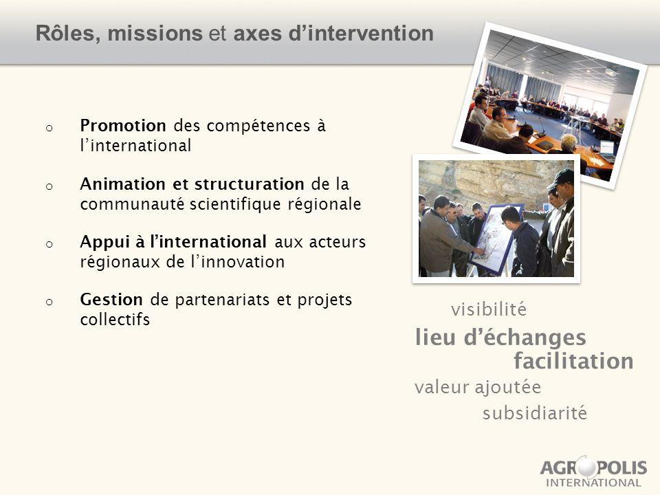 o Promotion des compétences à linternational o Animation et structuration de la communauté scientifique régionale o Appui à linternational aux acteurs