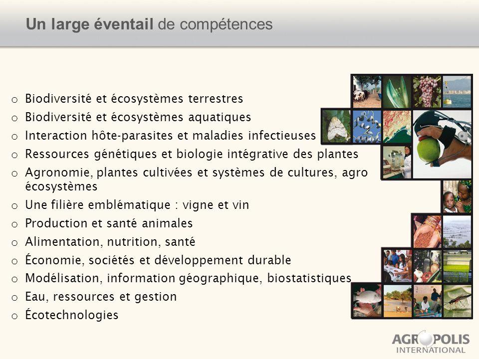 Un large éventail de compétences o Biodiversité et écosystèmes terrestres o Biodiversité et écosystèmes aquatiques o Interaction hôte-parasites et mal