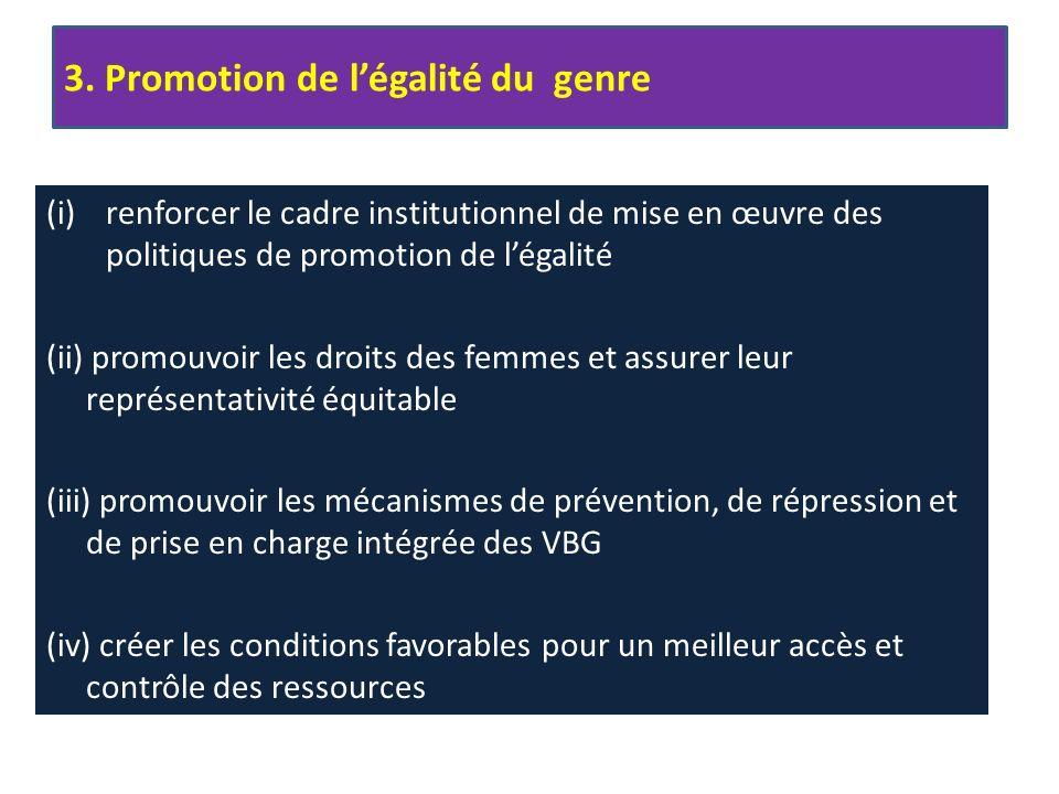 (i)renforcer le cadre institutionnel de mise en œuvre des politiques de promotion de légalité (ii) promouvoir les droits des femmes et assurer leur représentativité équitable (iii) promouvoir les mécanismes de prévention, de répression et de prise en charge intégrée des VBG (iv) créer les conditions favorables pour un meilleur accès et contrôle des ressources 3.