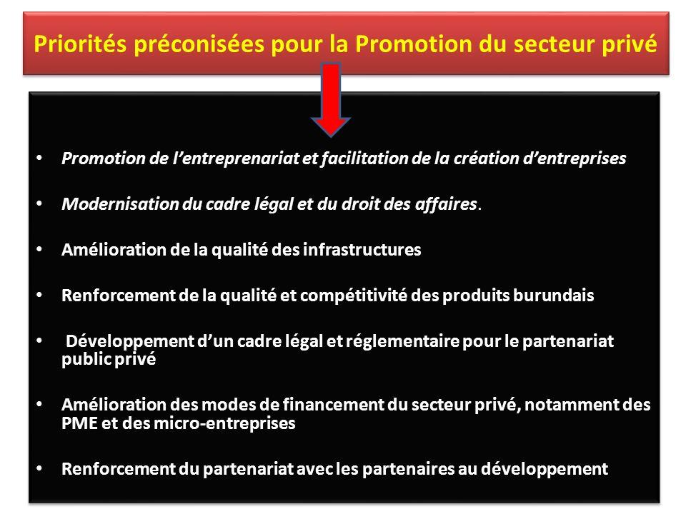 Priorités préconisées pour la Promotion du secteur privé Promotion de lentreprenariat et facilitation de la création dentreprises Modernisation du cadre légal et du droit des affaires.