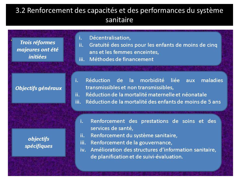 3.2 Renforcement des capacités et des performances du système sanitaire.