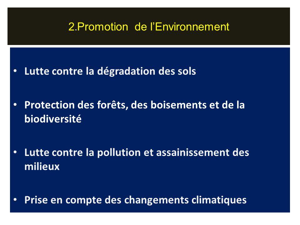 Lutte contre la dégradation des sols Protection des forêts, des boisements et de la biodiversité Lutte contre la pollution et assainissement des milieux Prise en compte des changements climatiques 2.