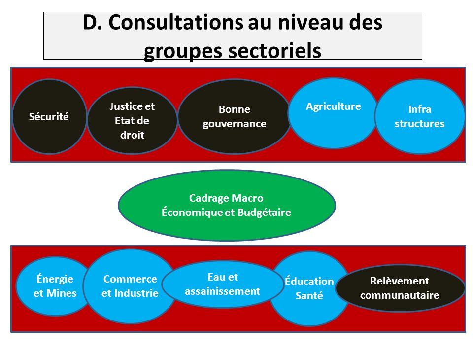 D. Consultations au niveau des groupes sectoriels.
