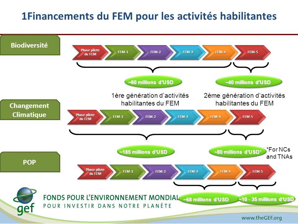 1Financements du FEM pour les activités habilitantes 1ère génération dactivités habilitantes du FEM 2ème génération dactivités habilitantes du FEM Biodiversité Changement Climatique POP *For NCs and TNAs Phase pilote du FEM FEM-1FEM-2FEM-3FEM-4FEM-5 FEM-1FEM-2FEM-3FEM-4FEM-5 FEM-1FEM-2FEM-3FEM-4FEM-5 ~60 millions dUSD ~40 millions dUSD ~68 millions dUSD ~185 millions dUSD ~80 millions dUSD* ~10 - 35 millions dUSD