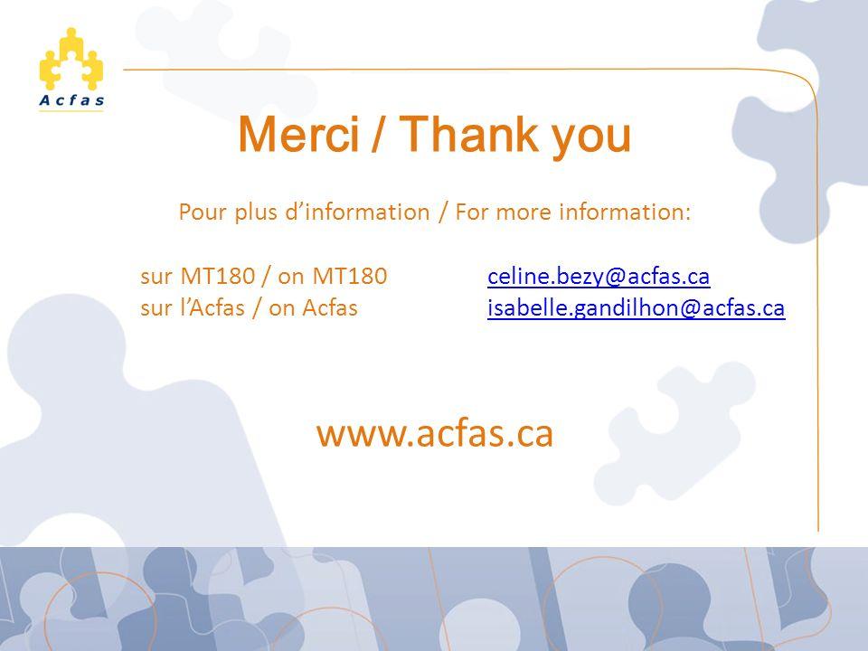Le concours Ma thèse en 180 secondes Merci / Thank you Pour plus dinformation / For more information: sur MT180 / on MT180 celine.bezy@acfas.caceline.