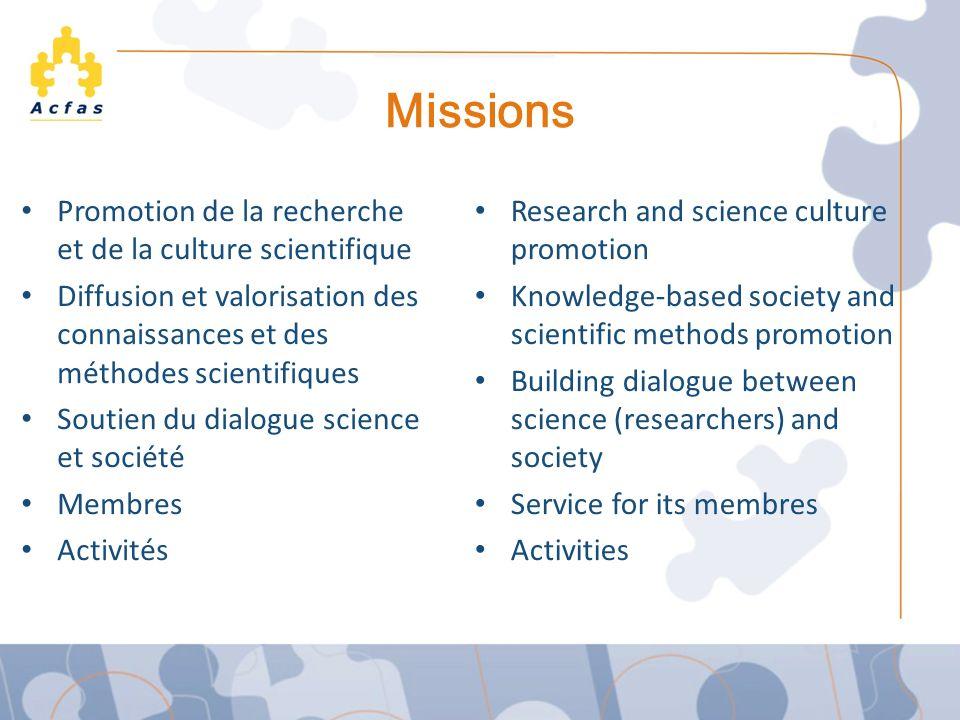Missions Promotion de la recherche et de la culture scientifique Diffusion et valorisation des connaissances et des méthodes scientifiques Soutien du