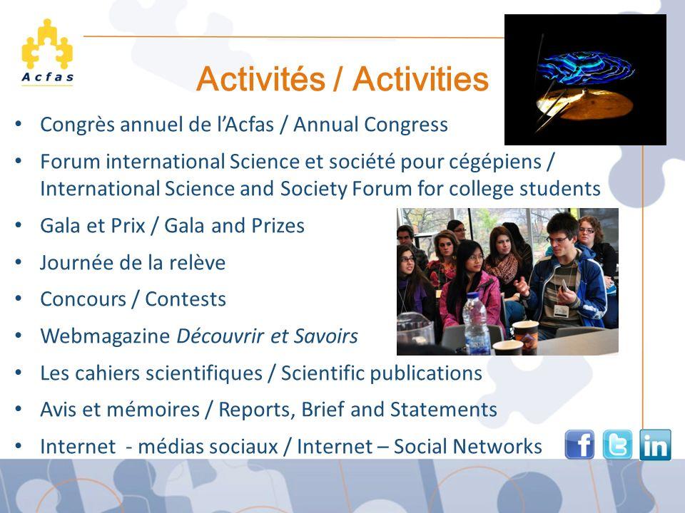 Activités / Activities Congrès annuel de lAcfas / Annual Congress Forum international Science et société pour cégépiens / International Science and So