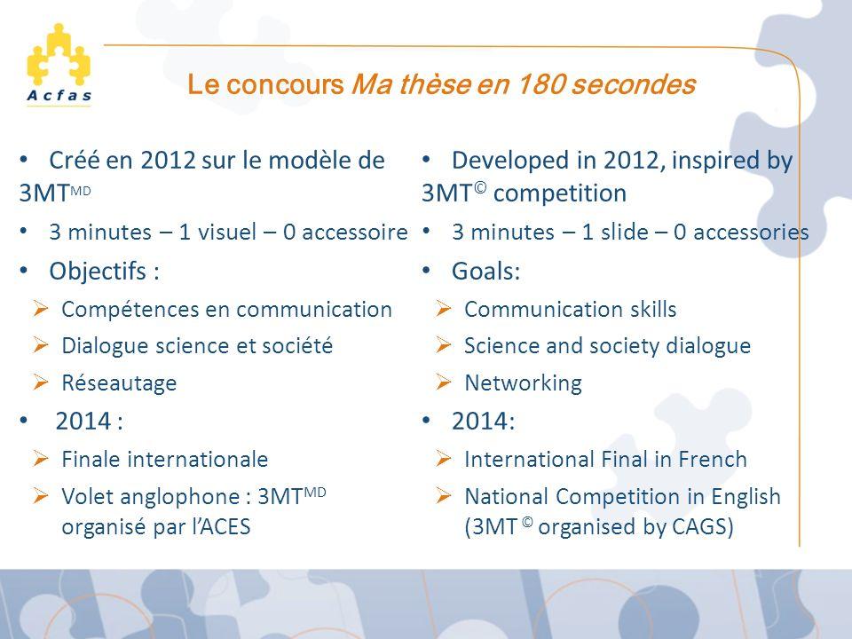 Le concours Ma thèse en 180 secondes Créé en 2012 sur le modèle de 3MT MD 3 minutes – 1 visuel – 0 accessoire Objectifs : Compétences en communication