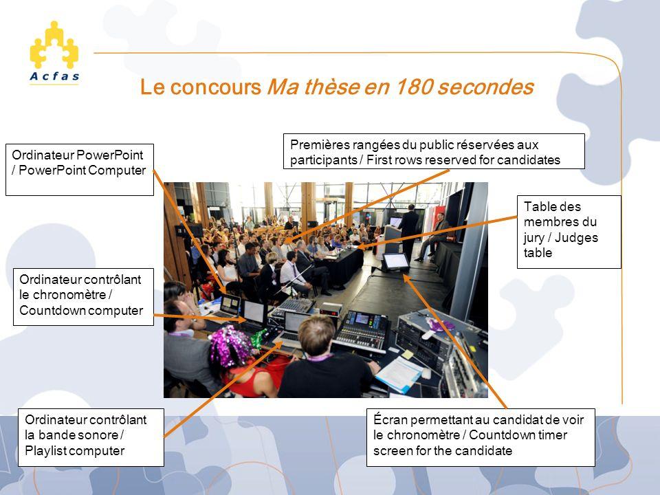 Le concours Ma thèse en 180 secondes Ordinateur contrôlant la bande sonore / Playlist computer Ordinateur contrôlant le chronomètre / Countdown comput