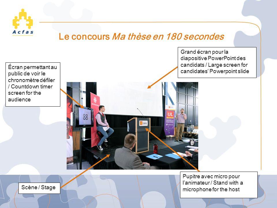 Le concours Ma thèse en 180 secondes Écran permettant au public de voir le chronomètre défiler / Countdown timer screen for the audience Grand écran p