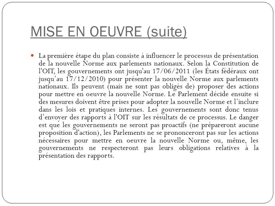 MISE EN OEUVRE (suite) La première étape du plan consiste à influencer le processus de présentation de la nouvelle Norme aux parlements nationaux.