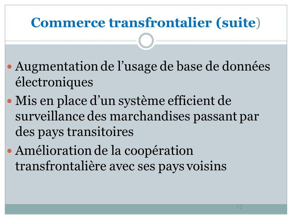 12 Augmentation de lusage de base de données électroniques Mis en place dun système efficient de surveillance des marchandises passant par des pays transitoires Amélioration de la coopération transfrontalière avec ses pays voisins Commerce transfrontalier (suite)