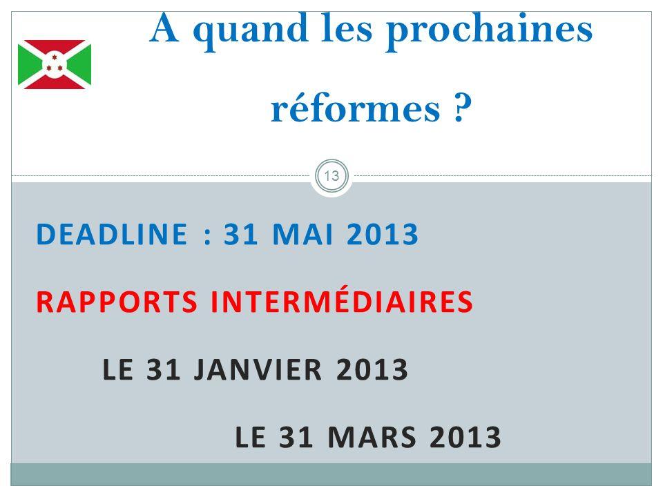 DEADLINE : 31 MAI 2013 RAPPORTS INTERMÉDIAIRES LE 31 JANVIER 2013 LE 31 MARS 2013 13 A quand les prochaines réformes