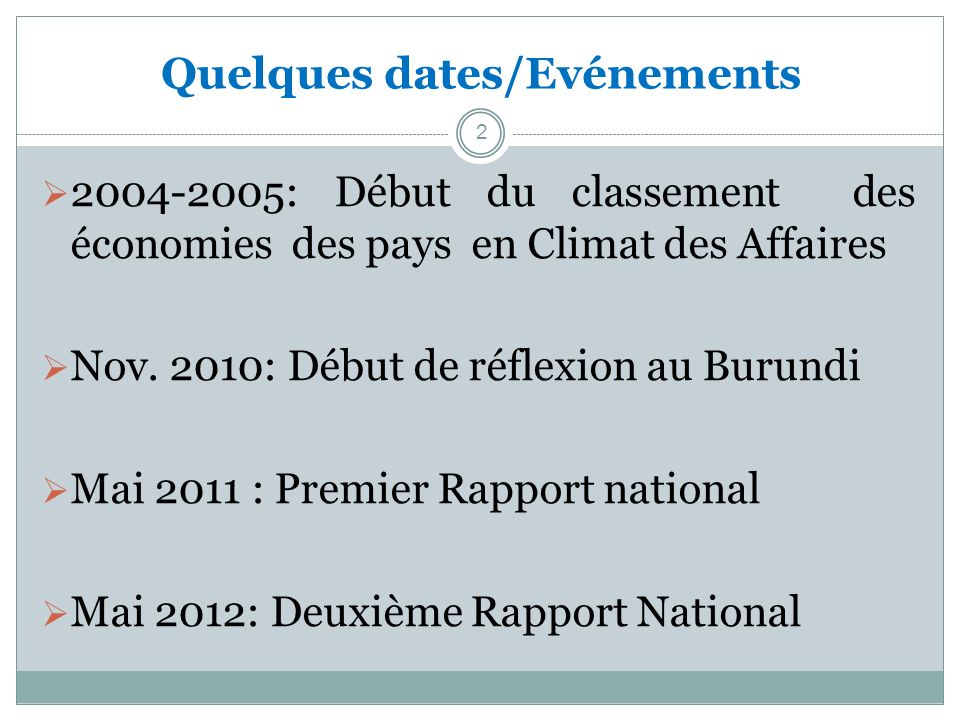 Quelques dates/Evénements 2 2004-2005: Début du classement des économies des pays en Climat des Affaires Nov.