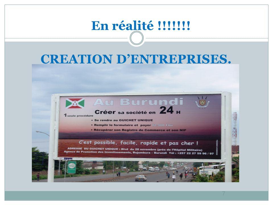 CREATION DENTREPRISES. 7 En réalité !!!!!!!