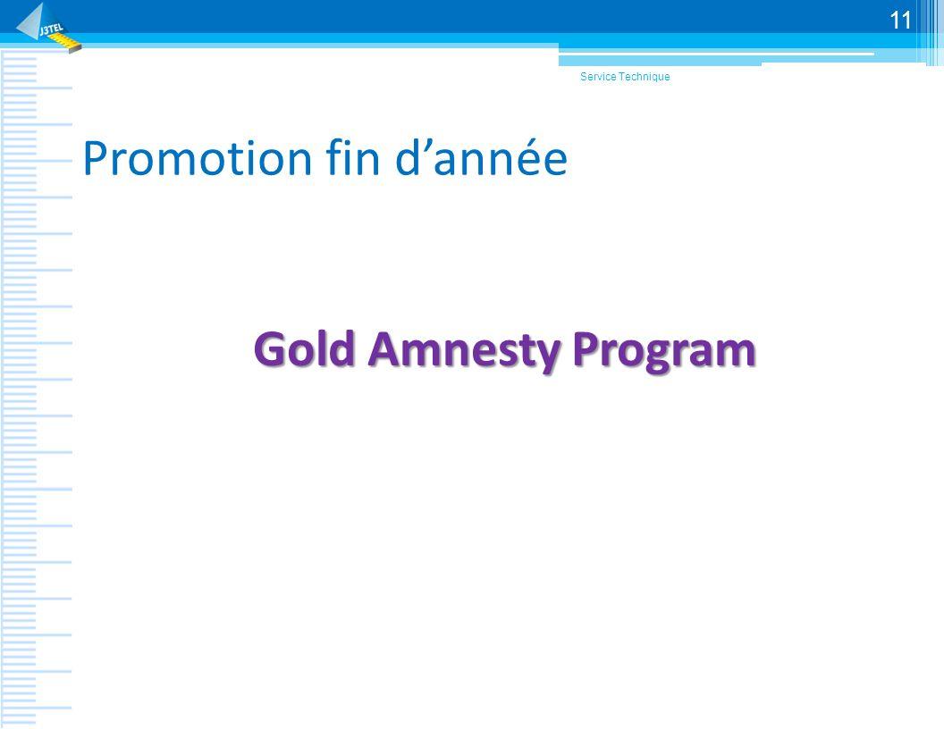 Promotion fin dannée Gold Amnesty Program Service Technique 11