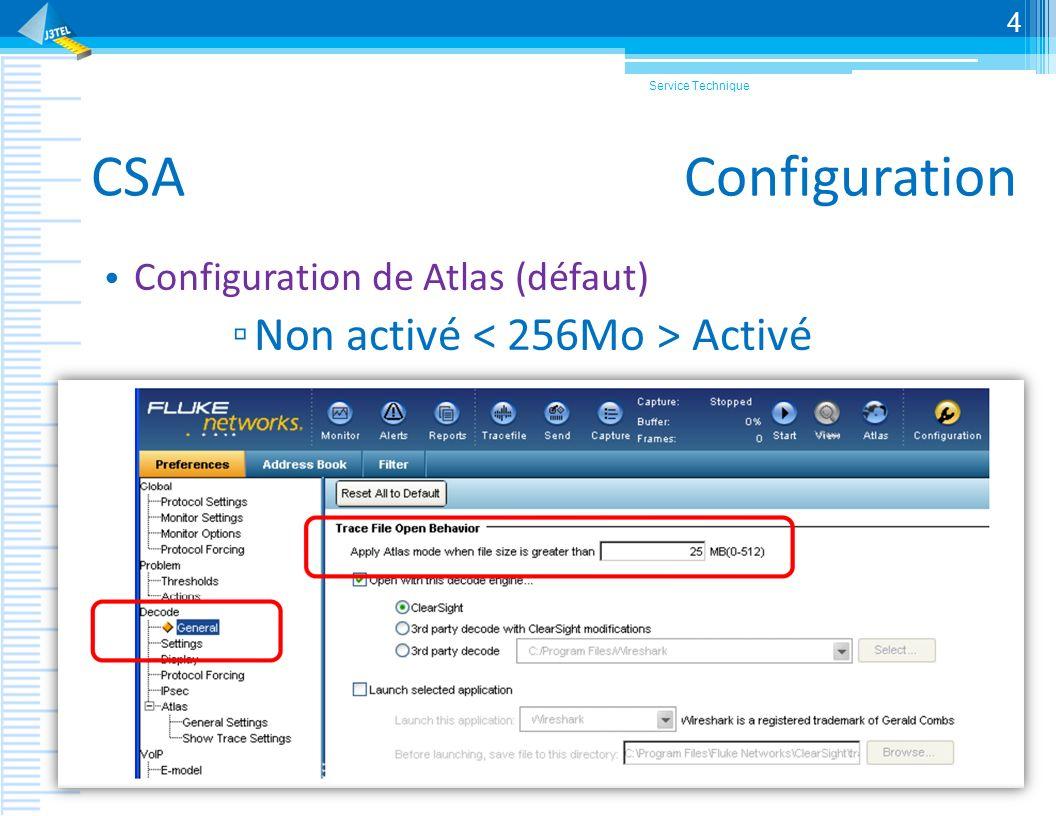 CSA Configuration Atlas Activation des protocoles pour le mode analyse et pour effectuer lextraction du trafic Service Technique 5