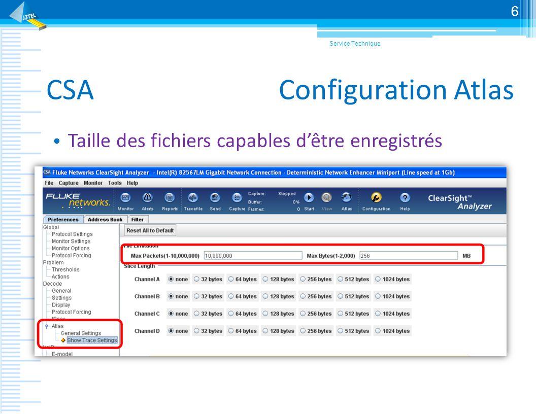 CSA Configuration Atlas Taille des fichiers capables dêtre enregistrés Service Technique 6