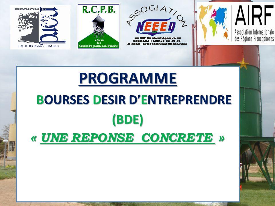 PLAN DE PRESENTATION 1.INTRODUCTION 2.LOBJECTIF GENERAL DU PROGRAMME 3.LES OBJECTIFS SPECIFIQUES 4.LES ACTIVITES ELIGIBLES 5.LES CRITERES DATTRIBUTION DE LA BOURSE 6.LA COMPOSITION DES DOSSIERS ET DEMANDE DE BOURSE 7.LE DISPOSITIF INSTITUTIONNEL DU PROGRAMME 8.LA PROCEDURE DATTRIBUTION DES BOURSES 9.LE MONTANT DE LA BOURSE 10.LES MODALITES DE VERSEMENT DE LA BOURSE 11.CONCLUSION 1.INTRODUCTION 2.LOBJECTIF GENERAL DU PROGRAMME 3.LES OBJECTIFS SPECIFIQUES 4.LES ACTIVITES ELIGIBLES 5.LES CRITERES DATTRIBUTION DE LA BOURSE 6.LA COMPOSITION DES DOSSIERS ET DEMANDE DE BOURSE 7.LE DISPOSITIF INSTITUTIONNEL DU PROGRAMME 8.LA PROCEDURE DATTRIBUTION DES BOURSES 9.LE MONTANT DE LA BOURSE 10.LES MODALITES DE VERSEMENT DE LA BOURSE 11.CONCLUSION
