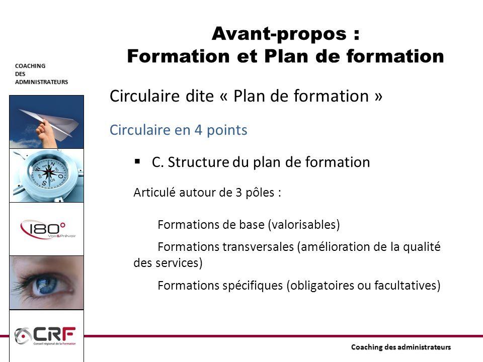 COACHINGDESADMINISTRATEURS Coaching des administrateurs Circulaire dite « Plan de formation » Circulaire en 4 points C. Structure du plan de formation