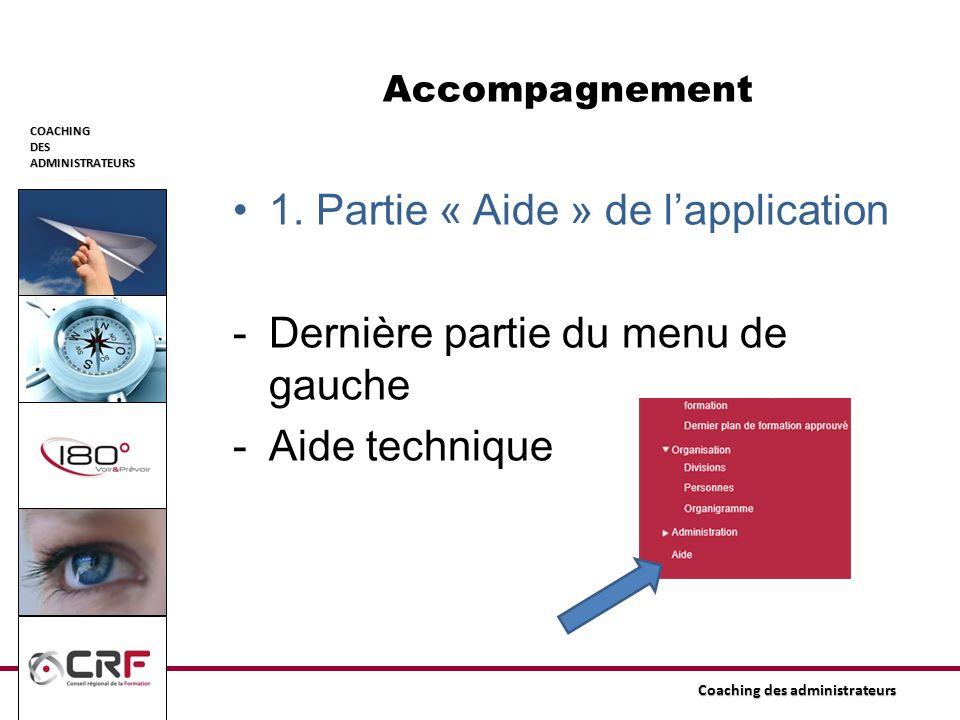 COACHINGDESADMINISTRATEURS Coaching des administrateurs Accompagnement 1. Partie « Aide » de lapplication -Dernière partie du menu de gauche -Aide tec