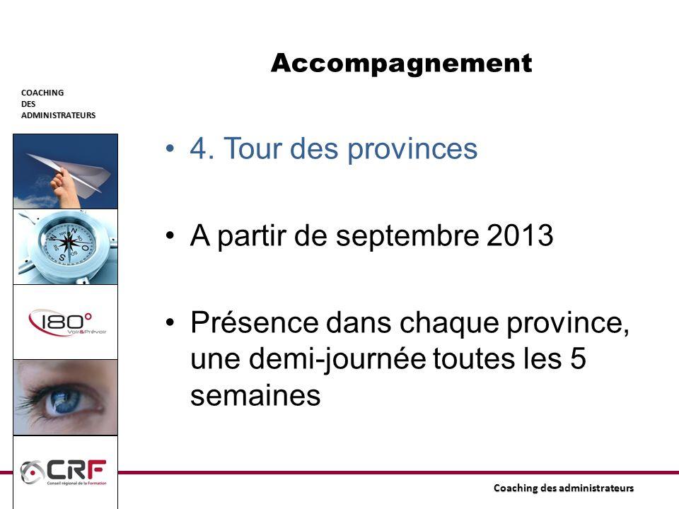 COACHINGDESADMINISTRATEURS Coaching des administrateurs Accompagnement 4. Tour des provinces A partir de septembre 2013 Présence dans chaque province,