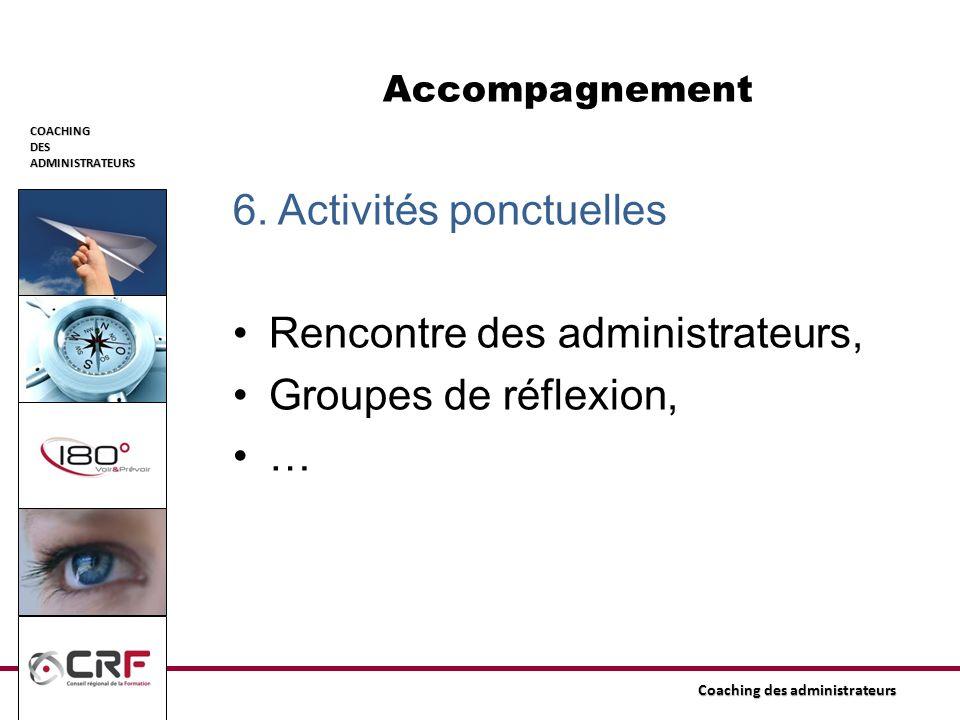 COACHINGDESADMINISTRATEURS Coaching des administrateurs Accompagnement 6. Activités ponctuelles Rencontre des administrateurs, Groupes de réflexion, …