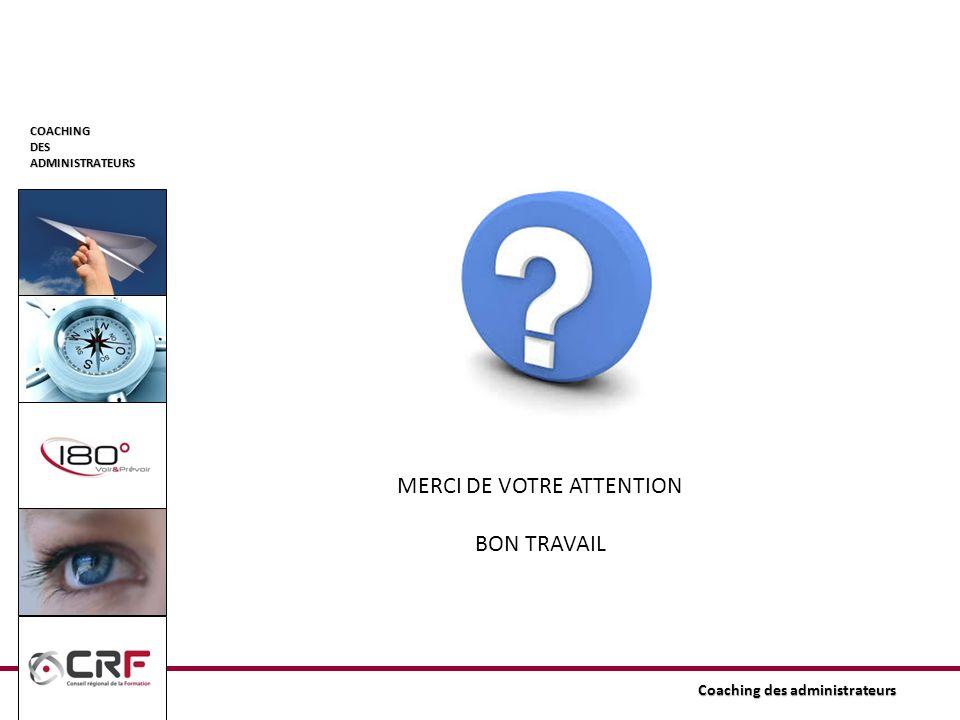 COACHINGDESADMINISTRATEURS Coaching des administrateurs MERCI DE VOTRE ATTENTION BON TRAVAIL