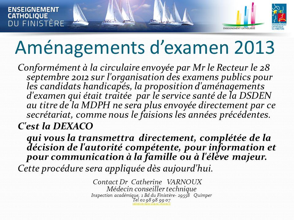 Aménagements dexamen 2013 Conformément à la circulaire envoyée par Mr le Recteur le 28 septembre 2012 sur l'organisation des examens publics pour les