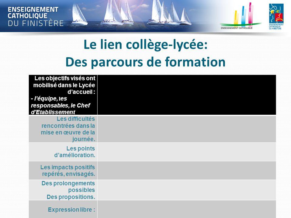 Le lien collège-lycée: Des parcours de formation Les objectifs visés ont mobilisé dans le Lycée daccueil : - léquipe, l es responsables, le Chef d'Eta