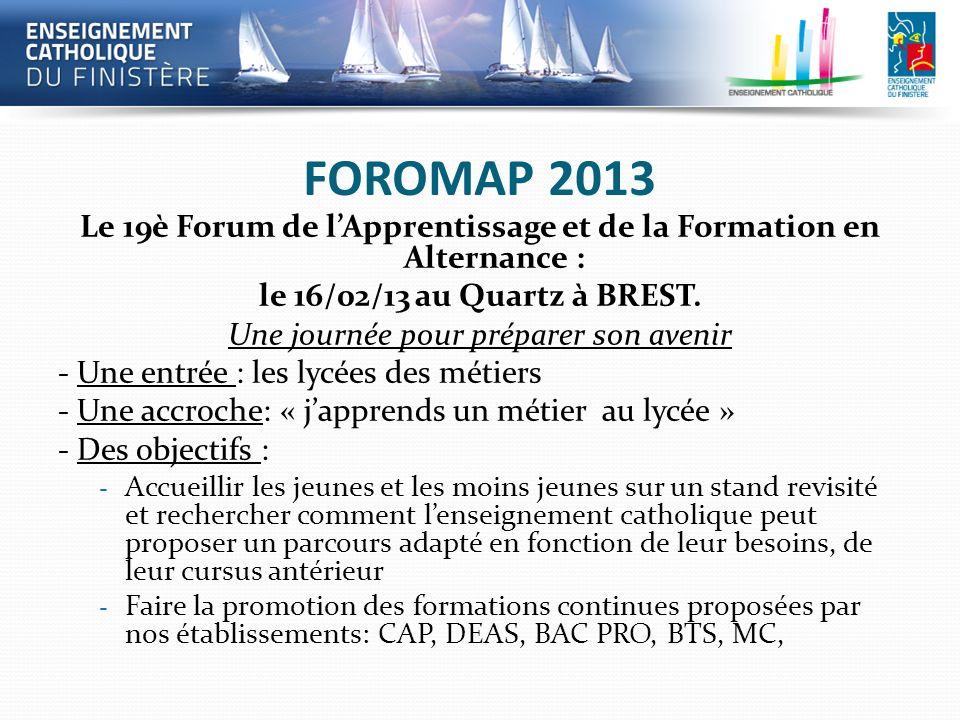 FOROMAP 2013 Le 19è Forum de lApprentissage et de la Formation en Alternance : le 16/02/13 au Quartz à BREST. Une journée pour préparer son avenir - U
