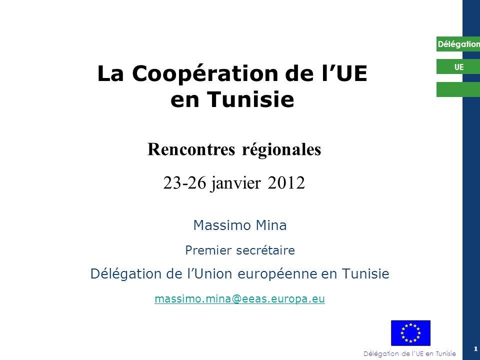 Délégation de lUE en Tunisie Délégation UE 22 1/ Objectifs et enjeux: reconnaissance politique de la société civile Approche participative (et inclusion de la société civile) reconnue dans les instruments régissant laction extérieure de lUE (2007-2013): - Instrument européen de voisinage et de partenariat (IEVP) -Instrument européen pour la démocratie et les droits de lhomme (IEDDH) -Instrument de cooperation au développement (ICD) + Résultats préliminaires du Dialogue Structuré 2010-2011 + Communication Partenariat pour la démocratie et une prospérité partagée avec le sud de la méditerranée (mars 2011)