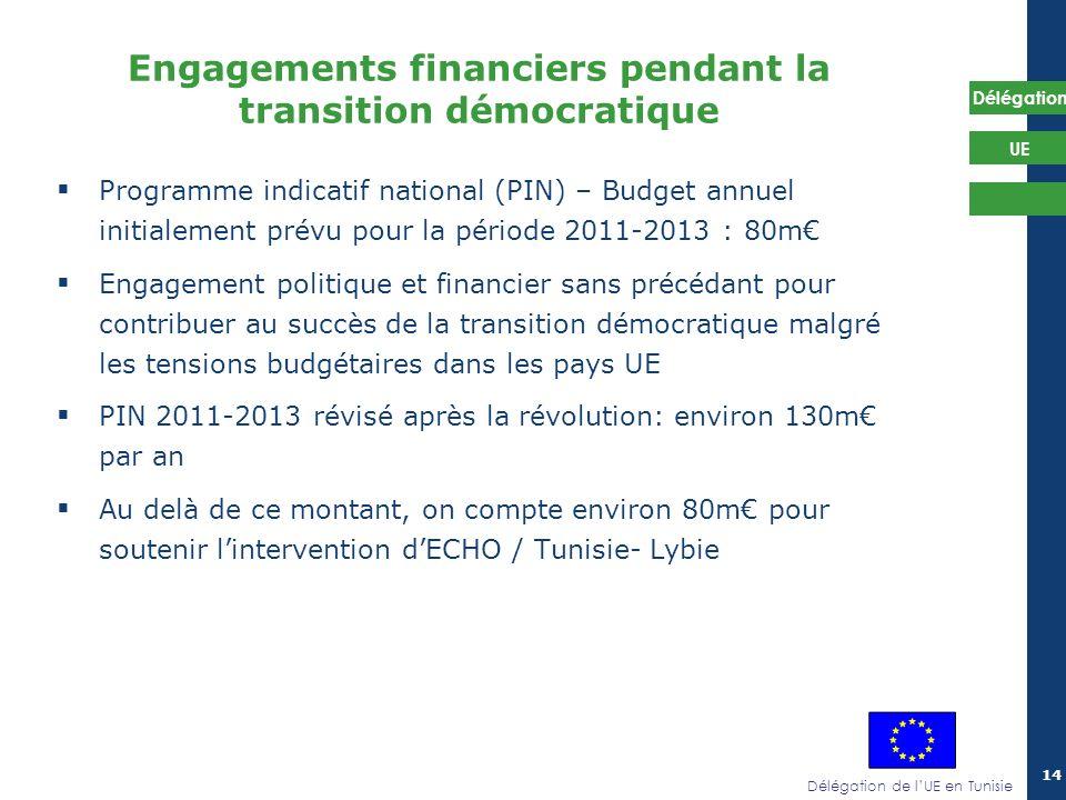 Délégation de lUE en Tunisie Délégation UE 14 Programme indicatif national (PIN) – Budget annuel initialement prévu pour la période 2011-2013 : 80m En