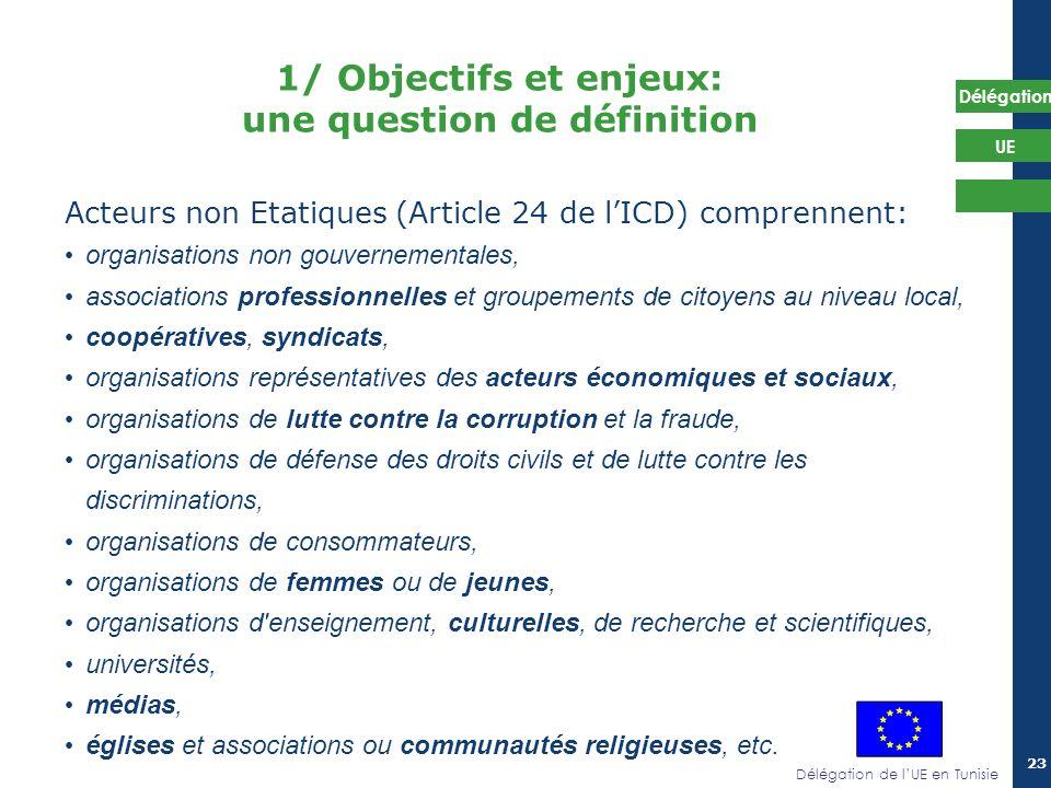Délégation de lUE en Tunisie Délégation UE 23 1/ Objectifs et enjeux: une question de définition Acteurs non Etatiques (Article 24 de lICD) comprennen