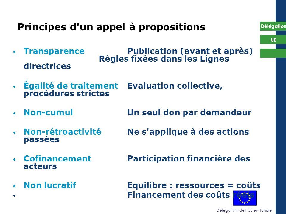 Délégation de lUE en Tunisie Délégation UE Principes d'un appel à propositions TransparencePublication (avant et après) Règles fixées dans les Lignes