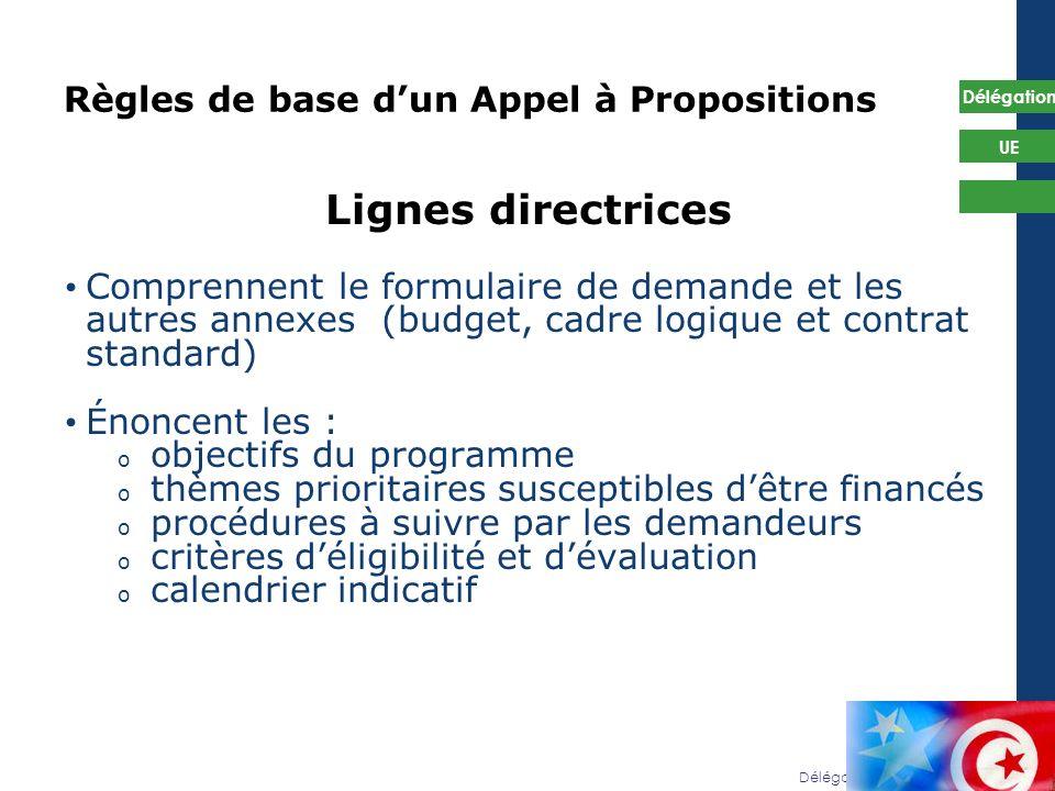 Délégation de lUE en Tunisie Délégation UE 35 Règles de base dun Appel à Propositions Lignes directrices Comprennent le formulaire de demande et les a