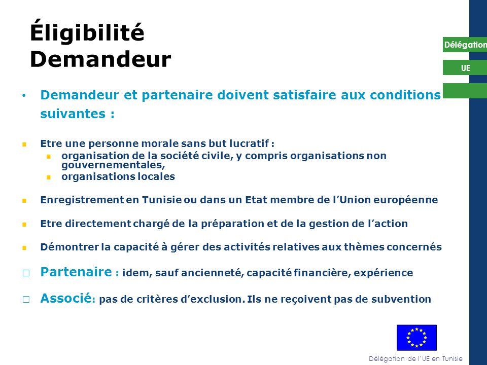 Délégation de lUE en Tunisie Délégation UE Éligibilité Demandeur Demandeur et partenaire doivent satisfaire aux conditions suivantes : Etre une person