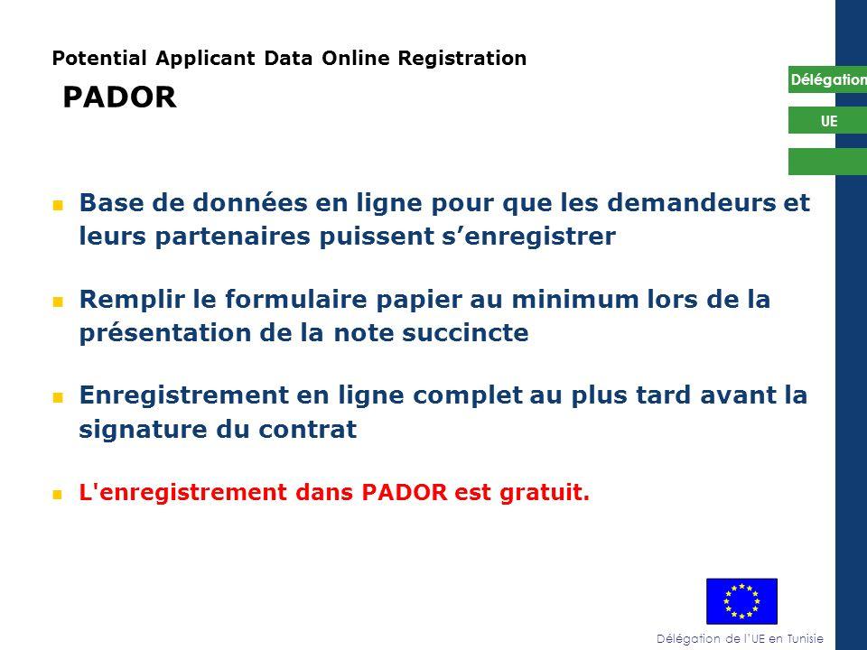 Délégation de lUE en Tunisie Délégation UE Potential Applicant Data Online Registration PADOR Base de données en ligne pour que les demandeurs et leur