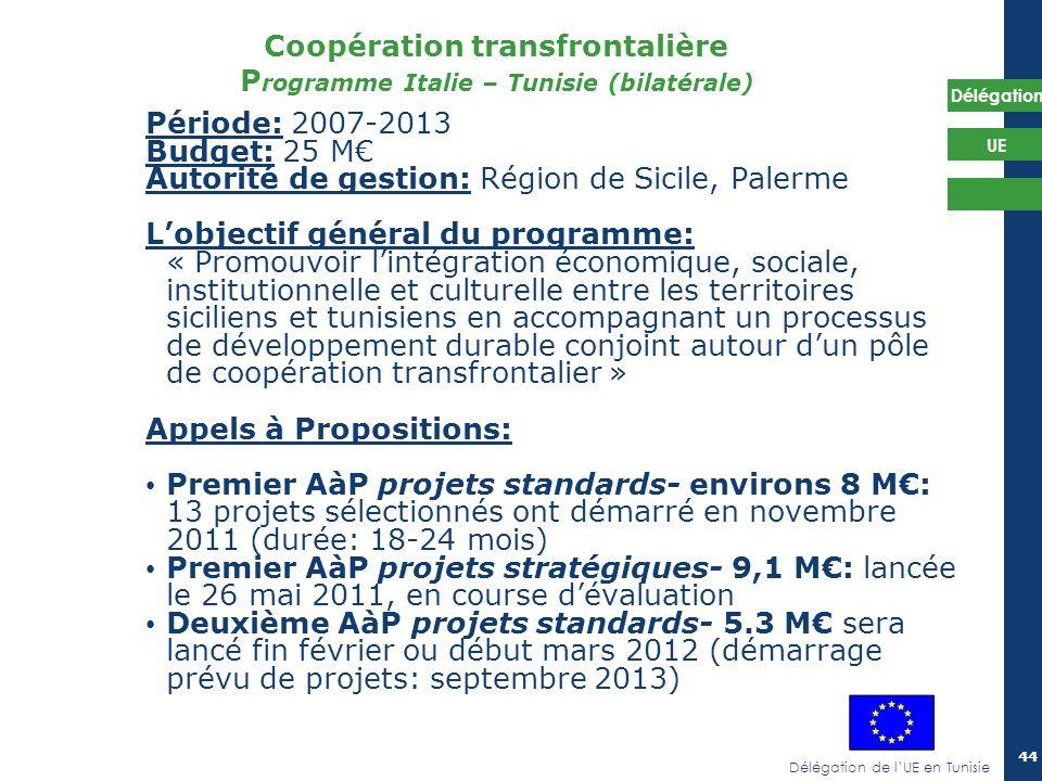 Délégation de lUE en Tunisie Délégation UE 44 Coopération transfrontalière P rogramme Italie – Tunisie (bilatérale) Période: 2007-2013 Budget: 25 M Au