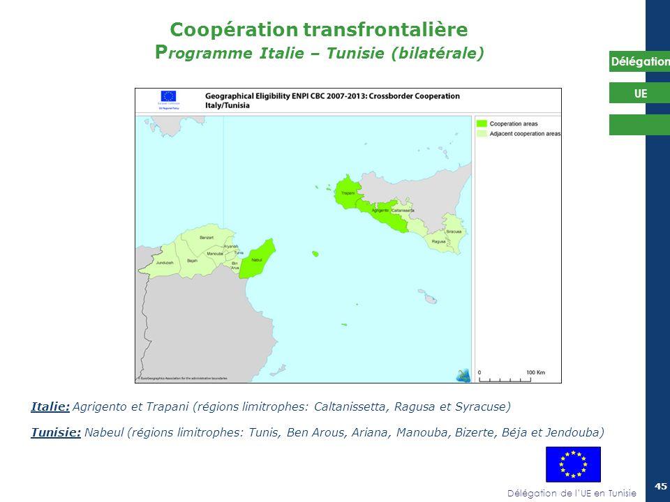 Délégation de lUE en Tunisie Délégation UE 45 Coopération transfrontalière P rogramme Italie – Tunisie (bilatérale) Italie: Agrigento et Trapani (régi