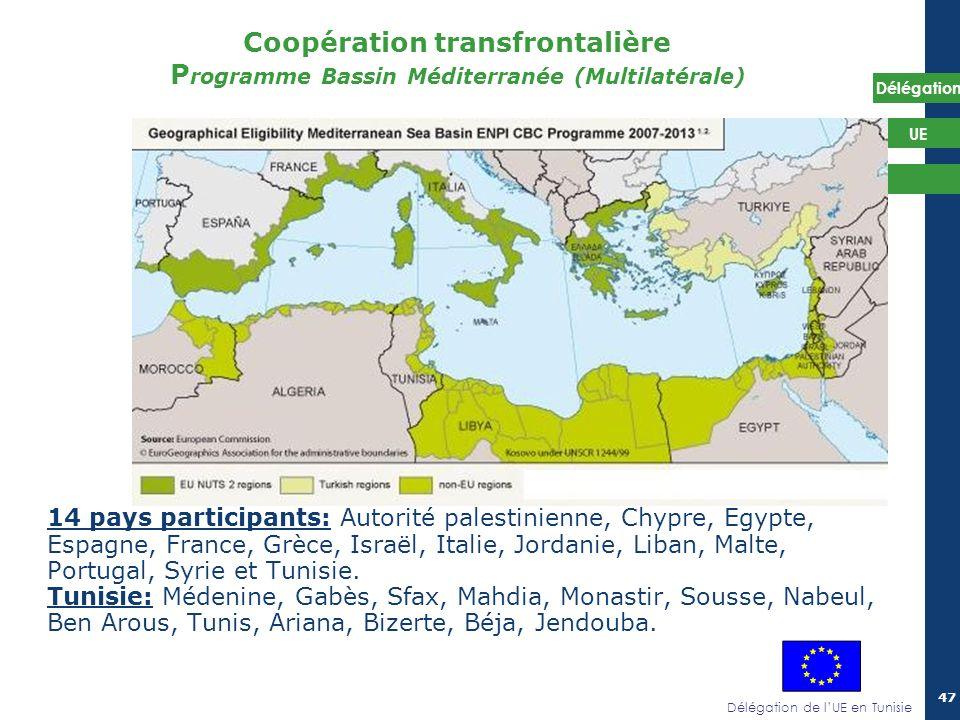 Délégation de lUE en Tunisie Délégation UE 47 Coopération transfrontalière P rogramme Bassin Méditerranée (Multilatérale) 14 pays participants: Autori
