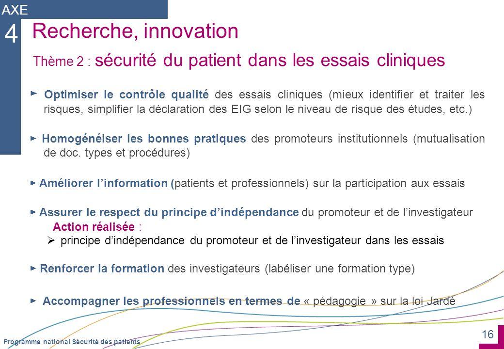 16 Programme national Sécurité des patients Recherche, innovation Optimiser le contrôle qualité des essais cliniques (mieux identifier et traiter les