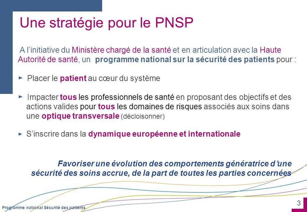 3 Programme national Sécurité des patients Une stratégie pour le PNSP A linitiative du Ministère chargé de la santé et en articulation avec la Haute A