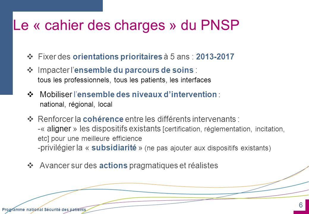 6 Programme national Sécurité des patients Le « cahier des charges » du PNSP Fixer des orientations prioritaires à 5 ans : 2013-2017 Impacter lensembl