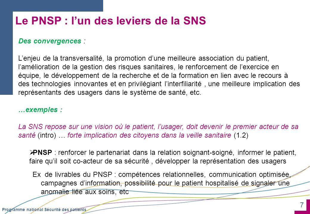 7 Programme national Sécurité des patients Le PNSP : lun des leviers de la SNS Des convergences : Lenjeu de la transversalité, la promotion dune meill