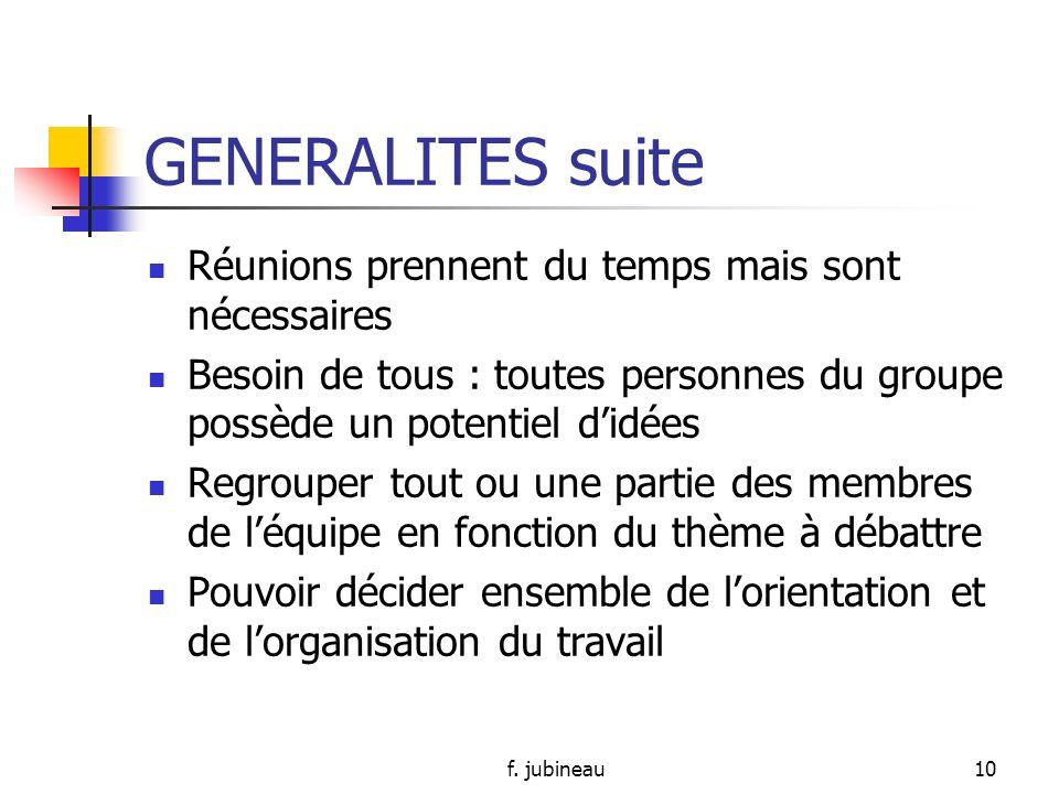 f. jubineau9 GENERALITES suite DEFINITIONS Réunion: action de réunir, fait de rassembler des personnes réunir: rassembler, rapprocher, faire communiqu
