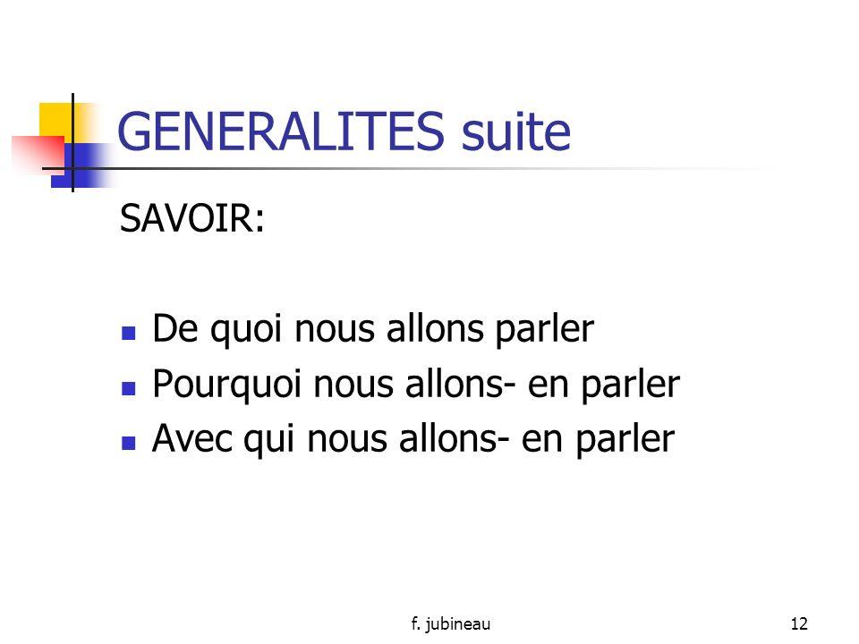 f. jubineau11 GENERALITES suite Dans toute réunion il y a : Animateur (1) Participants : un groupe de personnes Secrétaire (compte-rendu de réunion)