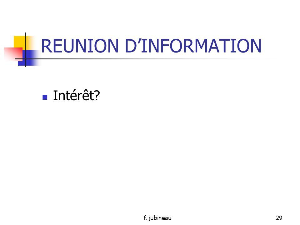 f. jubineau28 REUNION DORGANISATION (suite) Identifier le problème…clairement Débattre du problème Résoudre le problème…= solutions concrètes Institue