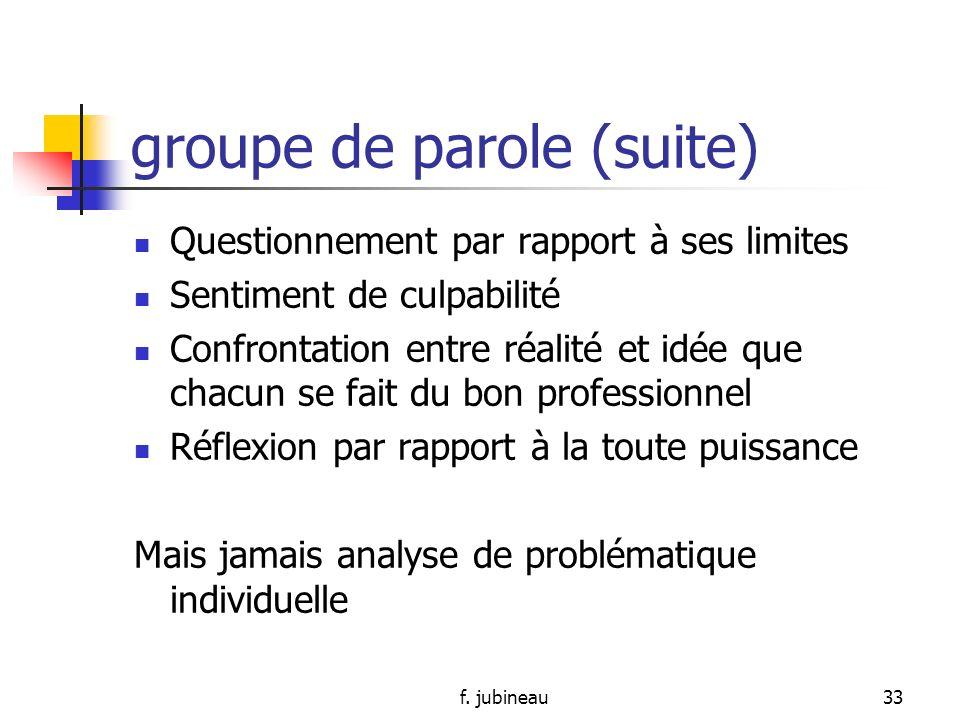 f. jubineau32 REUNION DE REFLEXION groupe de parole - STAFF Qui ?: personnel spécifique en fonction du thème – parfois psychologue, psychothérapeute e